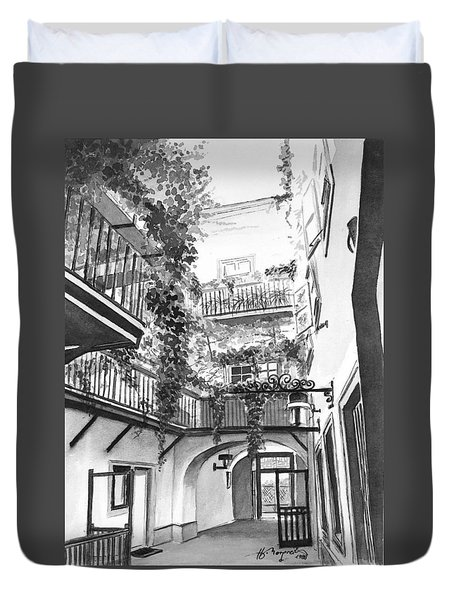 Old Viennese Courtyard Duvet Cover