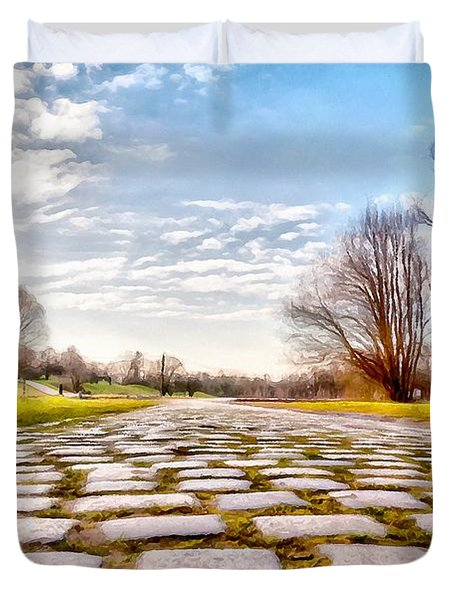 Duvet Cover featuring the photograph Olimpia Park - Munich by Sergey Simanovsky