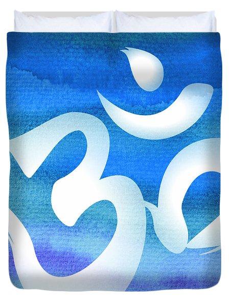 Om Symbol. Blue And White Duvet Cover