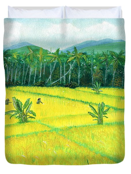Duvet Cover featuring the painting On The Way To Ubud II Bali Indonesia by Melly Terpening