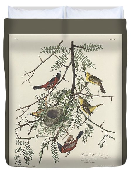 Orchard Oriole Duvet Cover by Anton Oreshkin