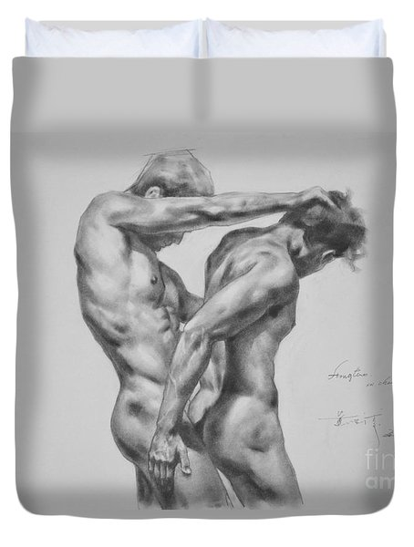Original Drawing Sketch Charcoal Male Nude Gay Interest Man Art Pencil On Paper -0035 Duvet Cover by Hongtao     Huang
