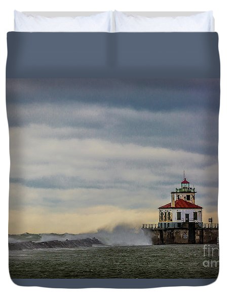 Oswego Harbor West Pierhead Light Duvet Cover