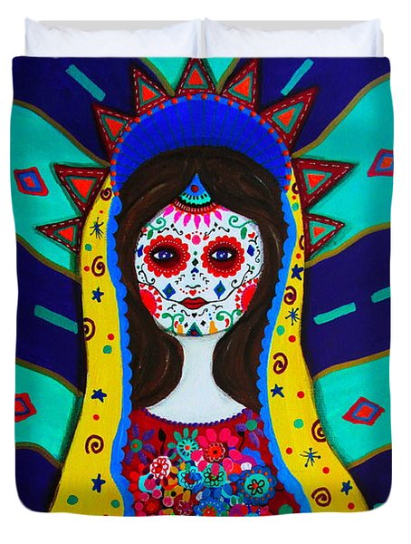 Our Lady Of Guadalupe Duvet Cover by Pristine Cartera Turkus