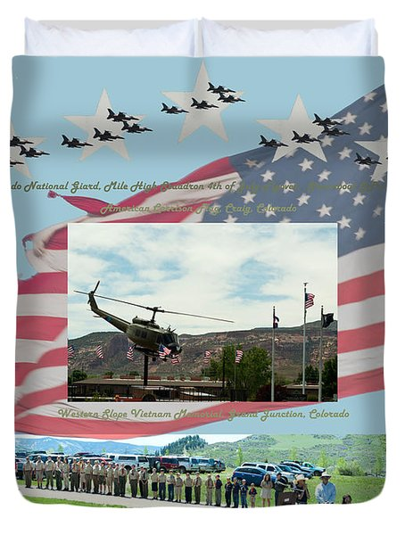 Duvet Cover featuring the digital art Our Memorial Day Salute by Daniel Hebard