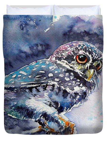 Owl At Night Duvet Cover