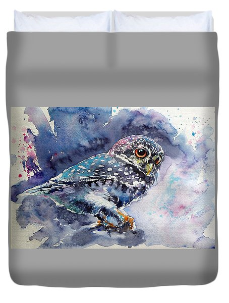 Owl At Night Duvet Cover by Kovacs Anna Brigitta
