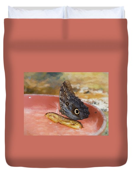 Duvet Cover featuring the photograph Owl Butterfly 2 by Paul Gulliver