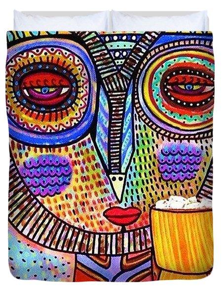 Owl Goddess Drinking Hot Chocolate Duvet Cover