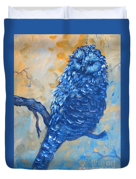 Duvet Cover featuring the painting owl by Laurianna Taylor