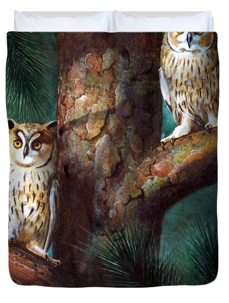 Owls In Moonlight Duvet Cover