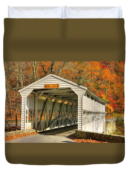 Pa Country Roads - Knox Covered Bridge Over Valley Creek No. 2a - Valley Forge Park Chester County Duvet Cover by Michael Mazaika