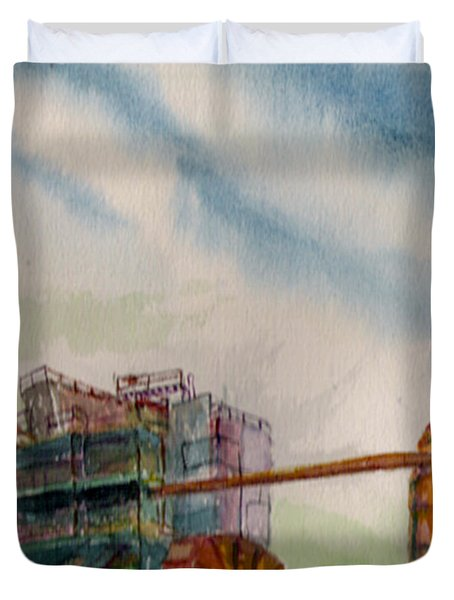 Duvet Cover featuring the painting Paia Mill 2 by Eric Samuelson