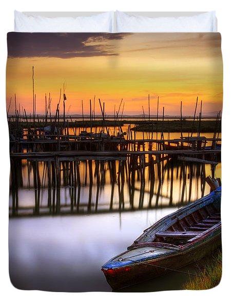 Palaffite Port Duvet Cover by Carlos Caetano