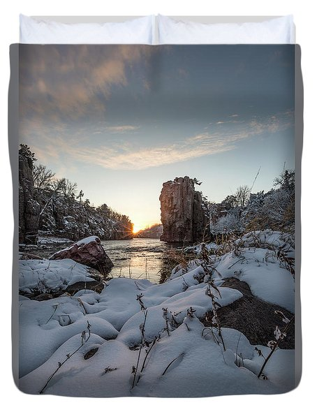 Duvet Cover featuring the photograph  Palisades First Snow by Aaron J Groen