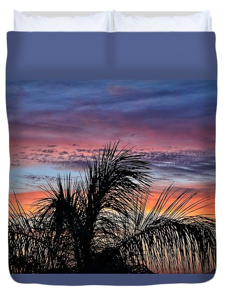Duvet Cover featuring the photograph Palm Tree Sunrise by Nikki McInnes