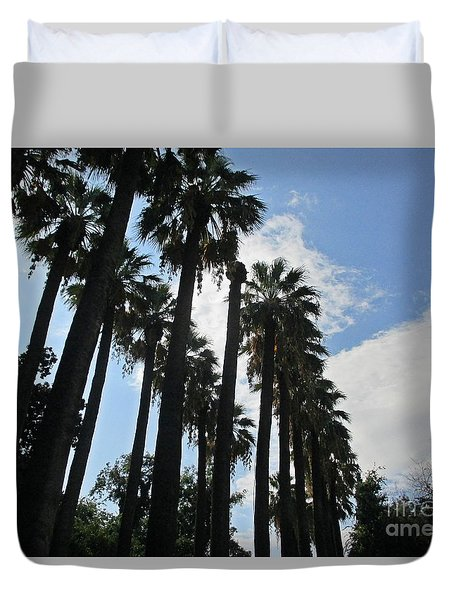 Palm Trees In Athens Duvet Cover