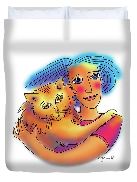 Duvet Cover featuring the drawing Pals by Angela Treat Lyon