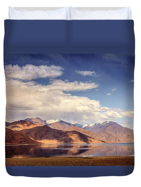 Duvet Cover featuring the photograph Pangong Tso Lake by Alexey Stiop
