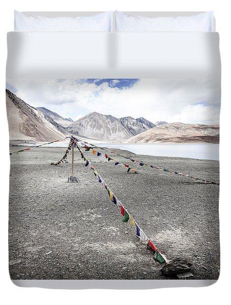 Duvet Cover featuring the photograph Pangong Tso Lkae by Alexey Stiop
