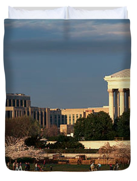 Panoramic View Of Jefferson Memorial Duvet Cover by Panoramic Images