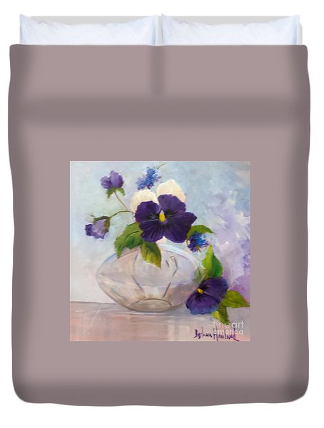 Pansies In Glass Duvet Cover