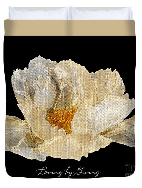 Duvet Cover featuring the photograph Paper Peony by Diane E Berry