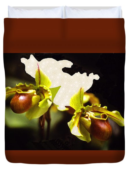 Duvet Cover featuring the mixed media Paphiopedilum Orchid by Rosalie Scanlon