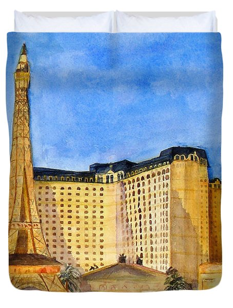 Paris Hotel And Casino Duvet Cover by Vicki  Housel