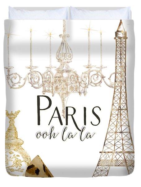 Paris - Ooh La La Fashion Eiffel Tower Chandelier Perfume Bottle Duvet Cover