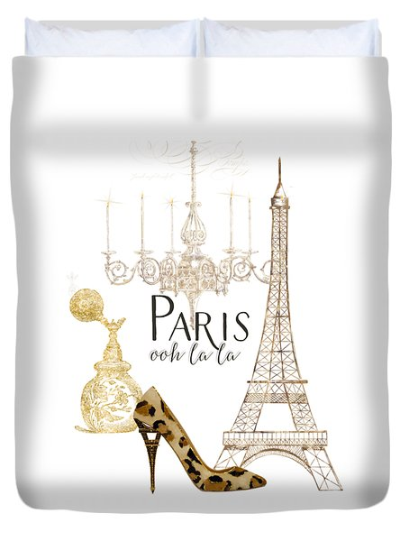Paris - Ooh La La Fashion Eiffel Tower Chandelier Perfume Bottle Duvet Cover