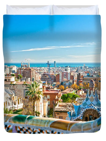 Park Guell Barcelona Duvet Cover by Luciano Mortula