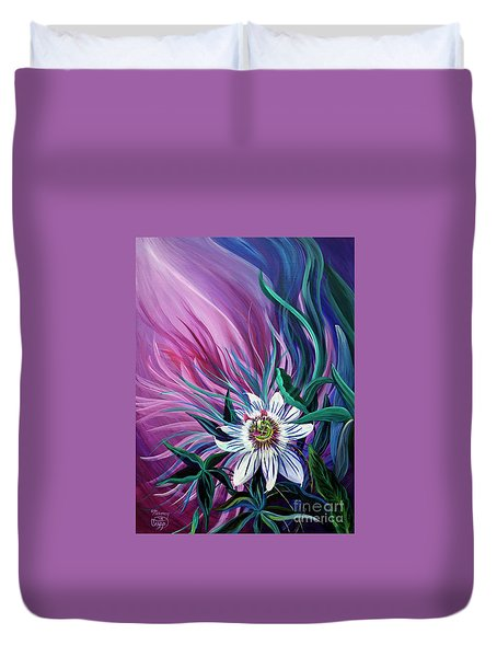 Passion Flower Duvet Cover by Nancy Cupp