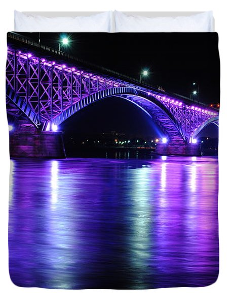 Peace Bridge Supporting Breast Cancer Awareness Duvet Cover by Michael Frank Jr
