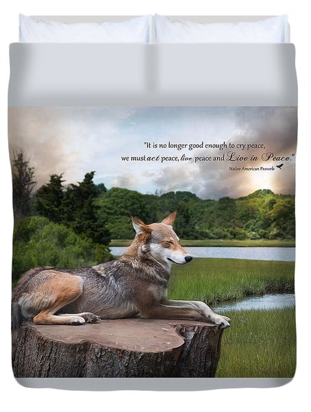 Duvet Cover featuring the photograph Peace by Robin-Lee Vieira