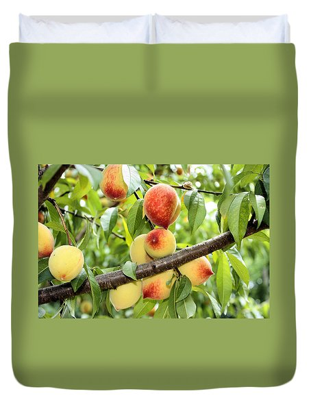 Duvet Cover featuring the photograph Peaches by Kristin Elmquist