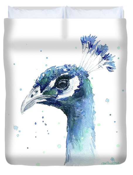 Peacock Watercolor Duvet Cover by Olga Shvartsur