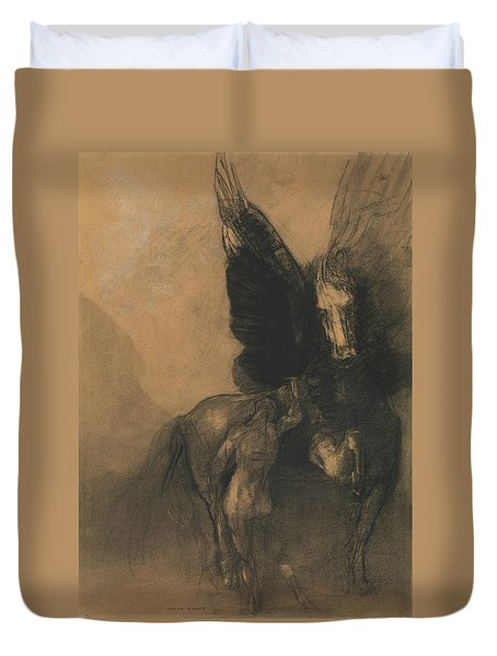 Pegasus And Bellerophon Duvet Cover by Odilon Redon