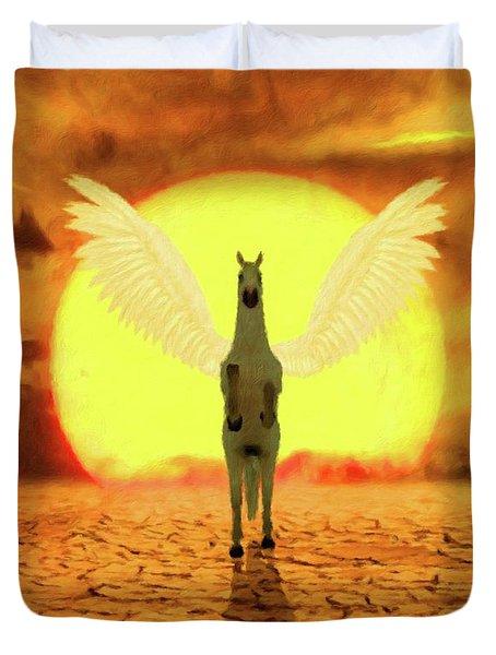 Pegasus By Mary Bassett Duvet Cover