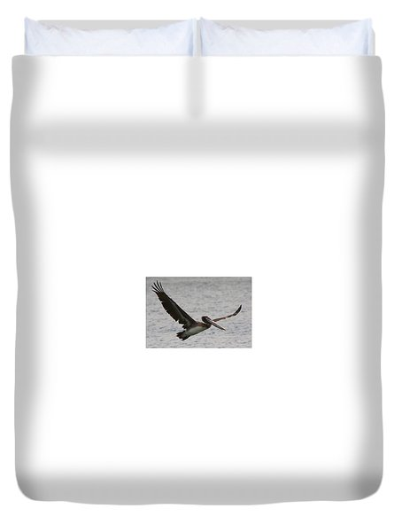 Pelican In Flight Duvet Cover by Laurel Talabere