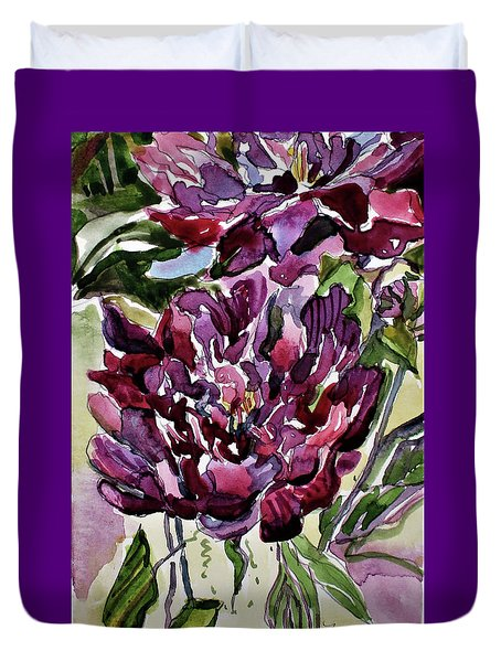 Duvet Cover featuring the painting Peonies by Mindy Newman