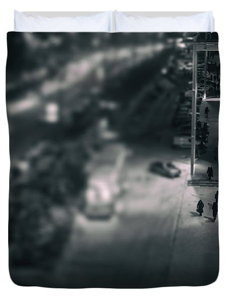 People At Night From Arerial View Duvet Cover