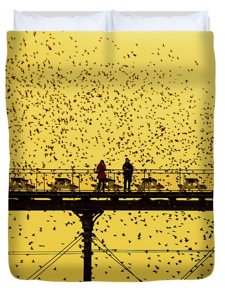 People On The Pier Sunset And Starlings In Aberystwyth Wales Duvet Cover