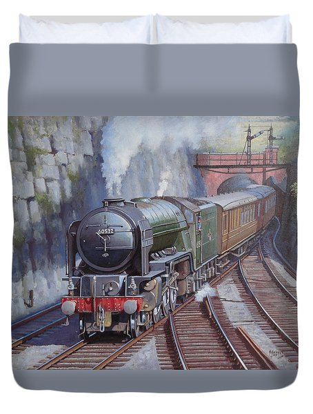 Duvet Cover featuring the painting Peppercorn Pacific. by Mike  Jeffries