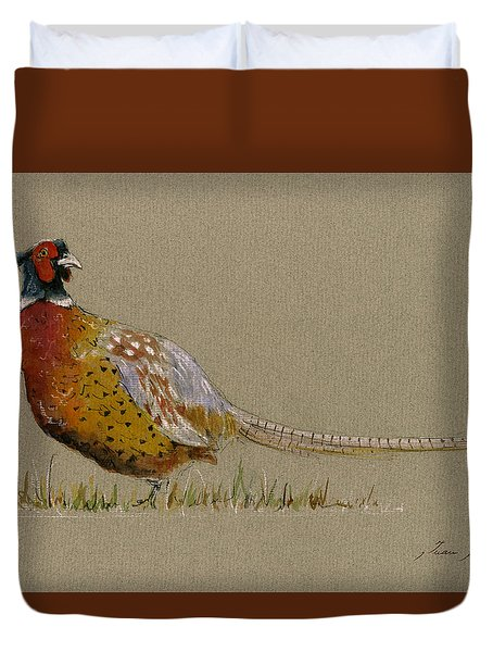 Pheasant Bird Art Duvet Cover