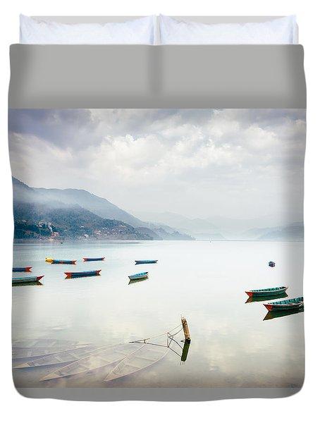 Phewa Lake In Pokhara, Nepal Duvet Cover