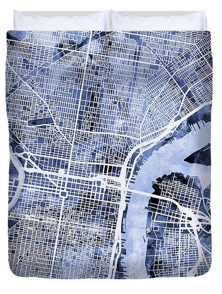 Philadelphia Pennsylvania City Street Map Duvet Cover