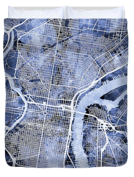 Philadelphia Pennsylvania City Street Map Duvet Cover by Michael Tompsett