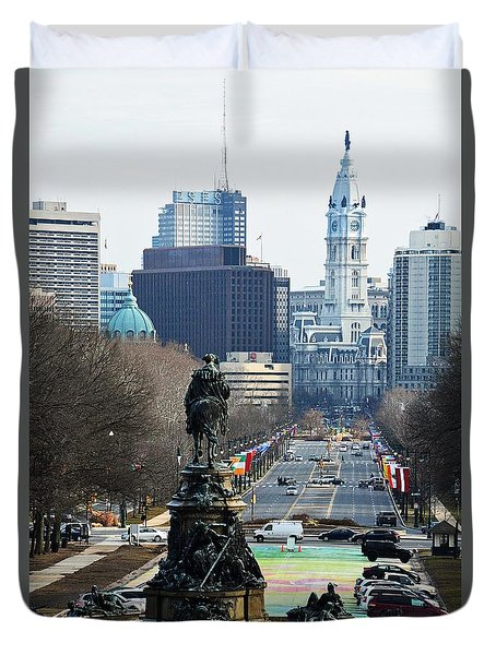 Philadelphia - The Parkway Duvet Cover by Cindy Manero