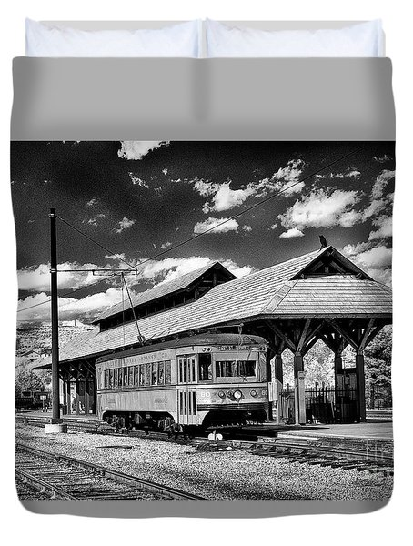 Duvet Cover featuring the photograph Philadelphia Trolley by Paul W Faust - Impressions of Light